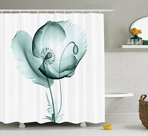Floral Blooms (Ambesonne Xray Flower Decor Collection, Poppy Flower Blooms Floral Radiographs Unusual Rare Art Print Home Decoration, Polyester Fabric Bathroom Shower Curtain Set with Hooks, Teal White)