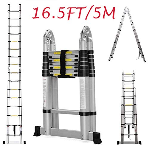 (Telescopic Ladder 16.5Ft 5M Multi-Purpose Aluminium Telescoping A-Frame Folding Ladder Extension Extendable 330lb Load Capacity EN131 Standard)