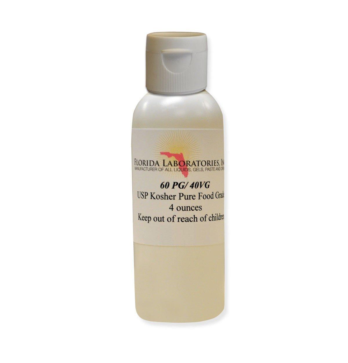 1- Bottle 4 oz 60/40 PG-VG Propylene Glycol & Vegetable Glycerine Kosher 99.9% Pure Food Grade