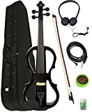 Barcelona 4/4-Size Electric Violin - Black Bundle with Case, Bow, Rosin, Headphones, Cable, Battery