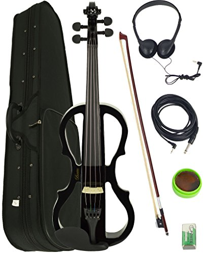 Barcelona 4/4-Size Electric Violin - Black Bundle with Case, Bow, Rosin, Headphones, Cable, Battery by Barcelona