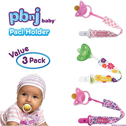 PBnJ baby Pacifier Clip Holder Strap Leash Tether for Boys and Girls with Safe Plastic Clip (Dots, Hearts, Flower 3-Pack)
