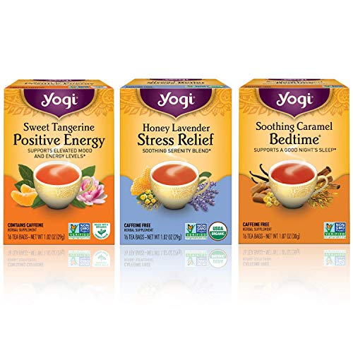 - Yogi Tea Wellness Sampler Bundle - (Pack of 3) Herbal Tea Variety Flavors Include - Sweet Tangerine Positive Energy, Honey Lavender Stress Relief, Soothing Caramel Bedtime Teas