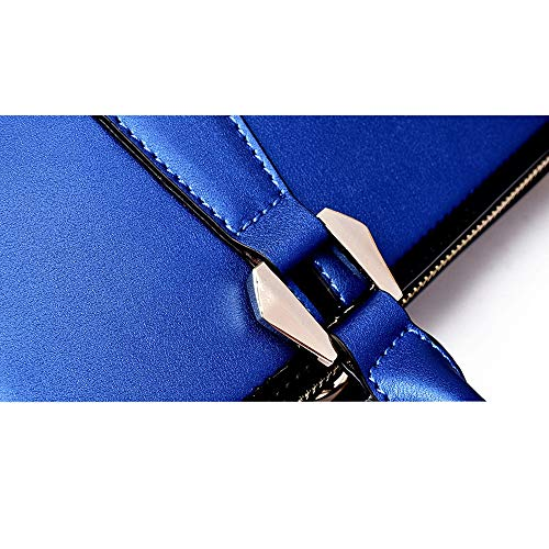Doppio Tracolla Tridimensionale Pelle Donna Simmetrico Wyfdm Disegno blue Da Regolabile In Dimensione Black qtwaxfAx