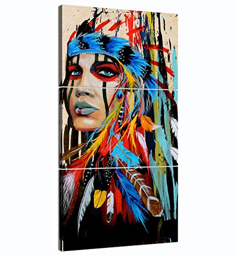 - Truly Beauty Painting Native American Girl Feathered Women Modern Home Wall Decor Canvas Artworks Picture Art HD Print Painting On Canvas 3 Piece, Framed