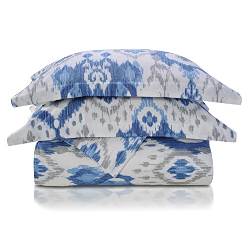 Superior 300 Thread Count Cotton Mountlake Print Duvet Cover Set Full/Queen Blue