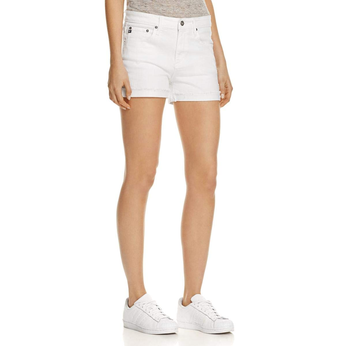 AG Adriano Goldschmied Women's Hailey Ex-Boyfriend Roll up Jean Short, White, 29