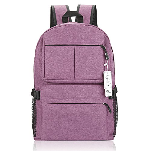 Laptop Backpack, WInblo 15 15.6 Inch College Backpack with USB Charging Port Light Weight Travel Backpack for Men Women(E-Purple) ()
