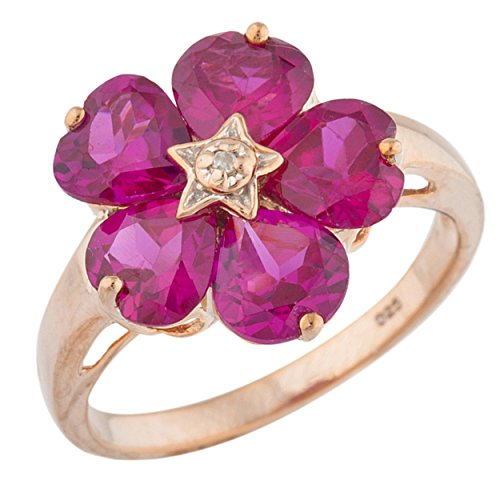 (5 Hearts Created Ruby & Diamond Heart Flower Design Ring 14Kt Rose Gold Plated Over .925 Sterling Silver)