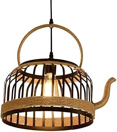 Lámpara Colgante Creativa de la lámpara de la Cuerda del cáñamo de la Caldera Luces Colgantes del Techo del Metal del Hierro Industrial de la Vendimia E27 Edison Retro Restaurante Droplight