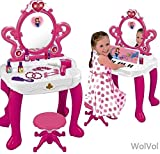 This vanity toy set includes everything a child could imagine in a vanity set. 1 necklace, 2 bracelets, 2 rings, 2 lipsticks, 3 nail polish, 2 stylish hair rubbers, comb, battery operated hair dryer, mirror, small chair and an installed piano...