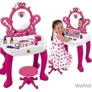 51xVsfjSDrL. SS300  - WolVolk 2-in-1 Vanity Set Girls Toy Makeup Accessories with Working Piano & Flashing Lights, Big Mirror, Cosmetics…