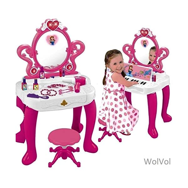 51xVsfjSDrL. SS600  - WolVolk 2-in-1 Vanity Set Girls Toy Makeup Accessories with Working Piano & Flashing Lights, Big Mirror, Cosmetics…