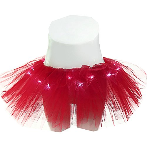 Women's 5 Layers LED Light Up Tutu Skirt Neon Rainbow Mini Costume Adult Dance Tulle Skirts for (Red Light Up Tutu)