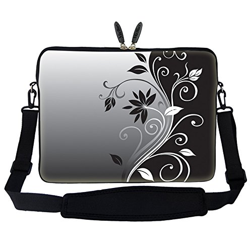 Meffort Inc 15 15.6 inch Neoprene Laptop Sleeve Bag Carrying Case with Hidden Handle and Adjustable Shoulder Strap - Gray Black Swirl Design (Swirl Handles)