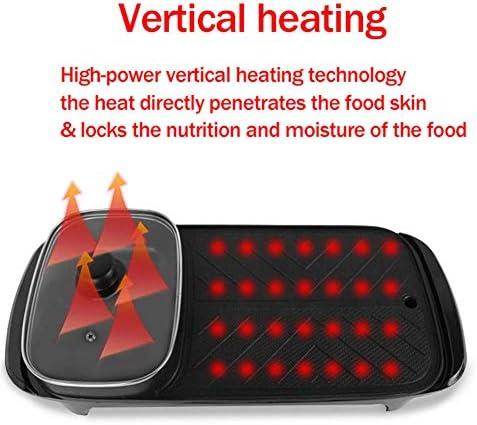 CCLLA Korean Grill électrique Intérieur, 5 Vitesses Contrôle de la température, 1360W Rapide Heat Hot Pot électrique intérieur et Ourdoor Barbecue Grill Smokeless