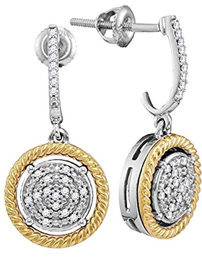 Roy Rose Jewelry 10K Two-tone Gold Womens Round Diamond Rope Circle Dangle Earrings 1/8-Carat -