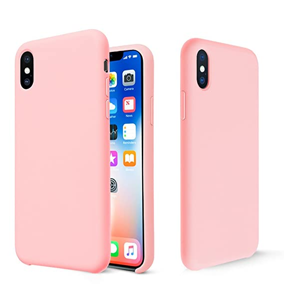 premium selection b87a0 9e5e7 iPhone X Case, Fuleadture Liquid Silicone Gel Rubber Shockproof Mobile  Phone Case Slim Soft Protective Cover with Microfiber Cloth Lining Cushion  for ...