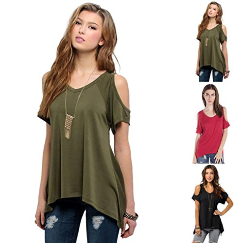 YANG-YI Sexy Women Casual V-Neck Off Shoulder T-Shirt Short Sleeve Solid Fashion Stretch T-Shirt