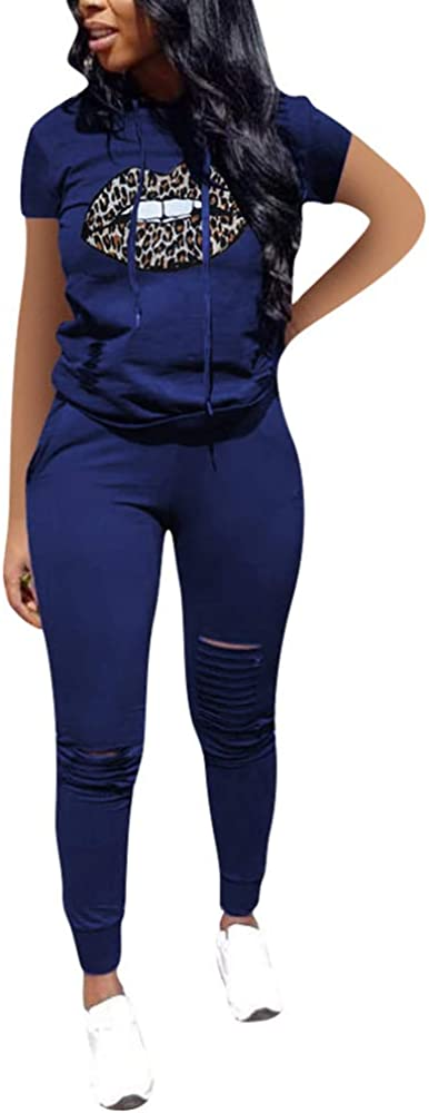 VKVKA Womens Casual 2 Piece Outfits Ripped Hole Pullover Hoodie Sweatsuit Sport Set