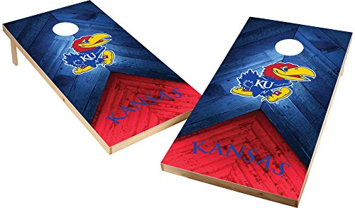 - Wild Sports NCAA College 2'x4' Kansas Jayhawks Cornhole Set