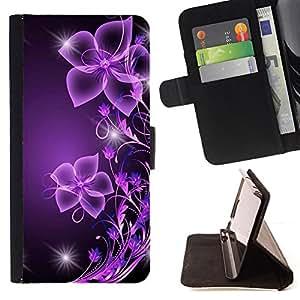 /Skull Market/ - Purple Black Bling Glitter For LG G3 - Caja de la carpeta del tir??n del cuero de la PU [con ranuras para tarjetas y cierre de solapa magn? -