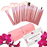 Professional Cosmetic Makeup Brushes Set - Beauty Make Up Face Kit Eyeshadow Foundation Eyeliner Bronzer Concealer Contour Brush for Blending Powder & Cream With Organizer Holder Case 22 Piece Pink