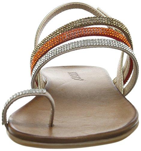 Inuovo 6399 Sandalias de Punta Descubierta, Mujer Beige (Beige-Gold)