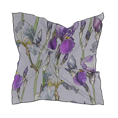 Women's Soft Polyester Silk Square Scarf Iris Hand Painted Vintage Spring Fashion Print Head & Hair Scarf Neckerchief Accessory-23.6x23.6 Inch ()