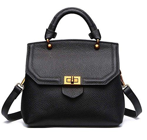 Bolsos de señora Xinmaoyuan cubierta protectora de cuero Bolsos Moda primera capa de conchas de cuero Bolso Bolso Messenger Negro