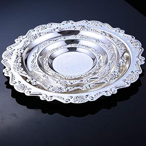 SaveStore 金属プレート シルバー色 サービングケーキトレイ ケーキパーティー ウェディングパーティーデコレーション トレイ 化粧品収納トレイ FT006 sliver diameter 30cm sliver diameter 30cm  B07JLNB2C7