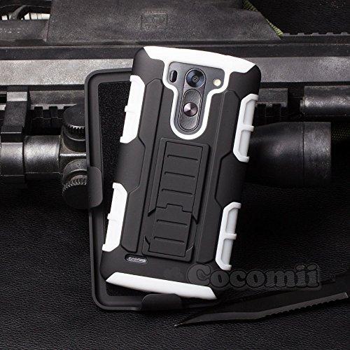 LG G3 Vigor / G3 Beat / G3 S Case, Cocomii Robot Armor NEW [Heavy Duty] Premium Belt Clip Holster Kickstand Shockproof Bumper [Military Defender] Full Body Rugged Cover D722 D724 D725 D728 (White)