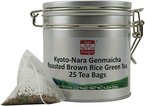 50 Tea Bag Tin - Teas Unique Japanese Kyoto-Nara Genmaicha Roasted Brown Rice Green Tea in Tin, 25 Tea Bags (50g)
