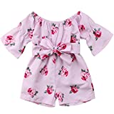 Baby-Girl Jumpsuit Sunsuit Set, Toddler Baby Girls Floral Off Shoulder Bowknot Bodysuit Romper,Pink,2-3 Years