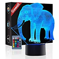Elephant 3D Illusion Birthday Gift Lamp, Gawell 7 Color Changing Touch Switch Table Desk Decoration Lamps Mother