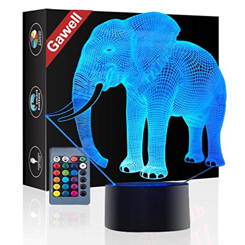 Elephant 3D Illusion Birthday Gift Lamp, Gawell 7 Color Changing Touch Switch Table Desk Decoration Lamps Mothers Day Present with Acrylic Flat & ABS Base & USB Cable Toy for Elephant Theme Lover
