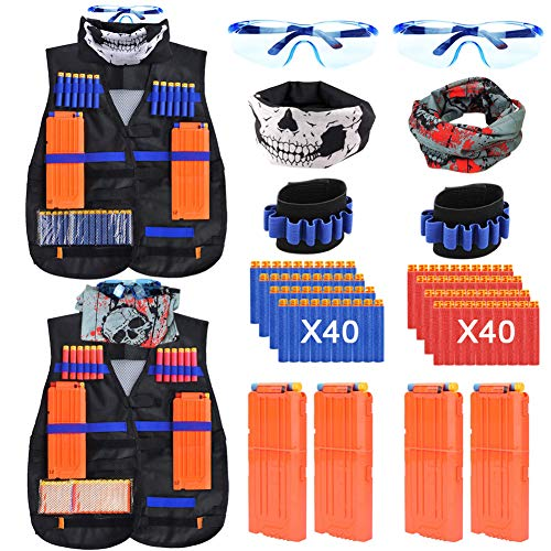 Kids Tactical Vest 2 Set Blaster Jacket Kit for Nerf Toy Guns N-Strike Elite Series with 80 Soft Foam Darts Bullets,4Pcs 12-Dart Quick Reload Clips,2Pcs 6-Dart Wrist Band,2 Face Mask & 2 Goggle