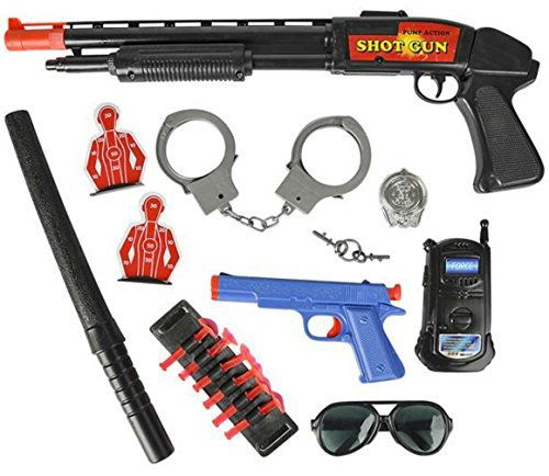 9 PC Police Target Practice Set Includes Pump Action Shotgun Pistol Handcuffs Walkie Talkie And More - Play Kreative TM]()