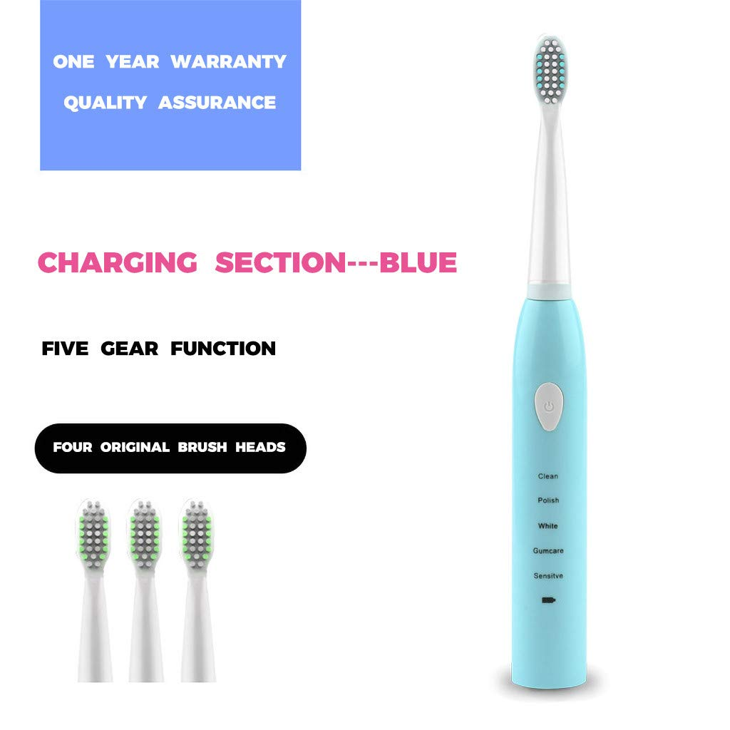 ObestChoose Electric Toothbrush, USB Rechargeable Toothbrush, Waterproof Vibration Electric Toothbrush 5 Cleaning Modes Rechargeable with 3 Replacement Brush Heads