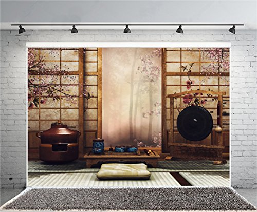 Leowefowa 10X7FT Japanese Style Backdrop Tea Ceremony Backdrops for Photography Tatami Japan Room Vinyl Photo Background French Window Interior Wallpaper Studio Props