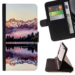 """For Samsung Galaxy A5 ( A5000 ) 2014 Version,S-type Reflexión montañas Snow View"""" - Dibujo PU billetera de cuero Funda Case Caso de la piel de la bolsa protectora"""