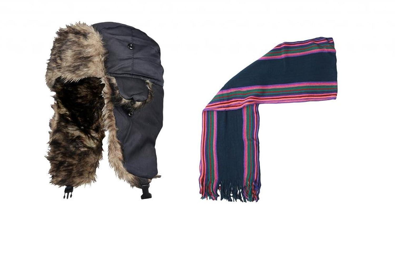 IMTD Herren Mütze & Schal Geschenk Set Retro Trapper Mütze Ski Mütze Stripe Designer Schal Weihnachts Geburtstag Vatertag