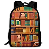 Adult Travelc Laptop Backpack,Education Themed Pattern Of Bookshelves With Academic Books Globe And Big Seashell,College School Computer Bookbag
