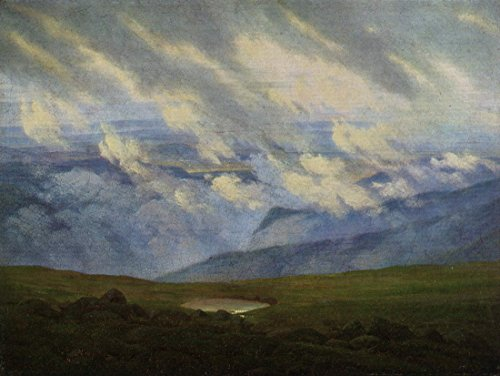 David Reproduction (Drifting Clouds by Caspar David Friedrich. 100% Hand Painted. Oil On Canvas. Reproduction. (Unframed and Unstretched). Painting Size 52x39 In.)