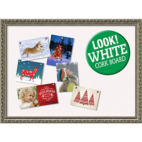 Amanti Art Framed White Christmas Card Cork Board, Parisian Silver: Outer Size 31 x 23'' by Amanti Art
