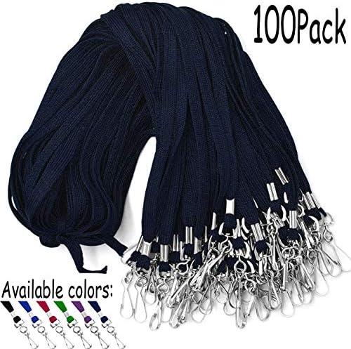 Lanyards Umhängebänder mit Drehhaken, für Namensschilder, Schwarz, 100 Stück 100 Pack marineblau