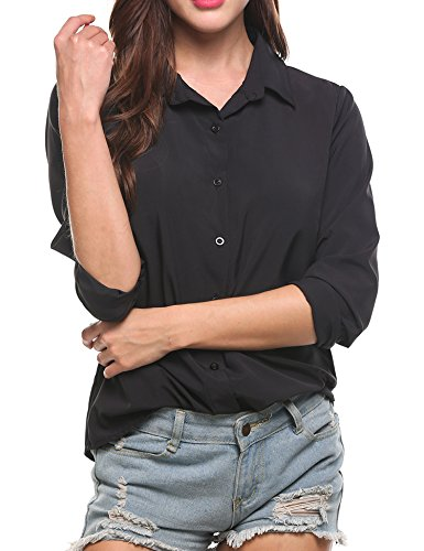 Zeagoo Women's Long Sleeve Casual Polka Dot Button up Office Blouse Shirt Top, Solid Black, XX-Large by Zeagoo (Image #5)