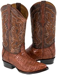 Men's Cognac Real Crocodile Skin Leather Cowboy Boots J Toe 10.5 E