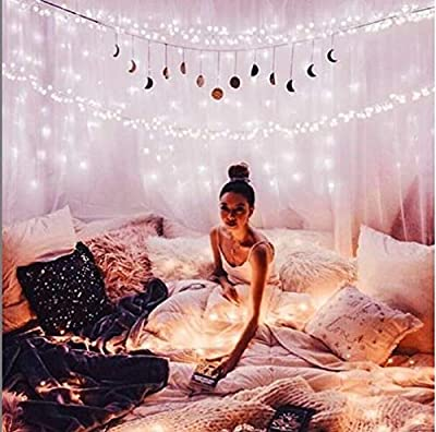 66Ft 200leds Waterproof Copper Wire Starry String Fairy Lights Bendable and Flexiable Perfect Hanging for Tapestry   Wedding   Party   Home   Garden   Bedroom   Indoor   Outdoor Wall Decor-Warm White