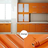 Oxdigi Self-Adhesive Contact Paper for Kitchen Cabinet Shelf Door Table Closet Solid Color 24''x196'' Pearl Orange